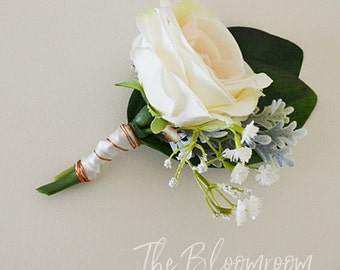 Grooms flowers / Rustic boutonniere / Wedding buttonhole / Silk boutonniere / Wedding buttonhole / Groom boutonniere / Lapel / Bout