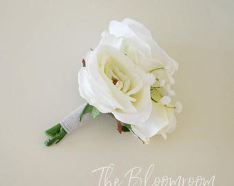 White rose corsage / Rose baby's breath / White corsage / Rose corsage / Bridal corsage / Wrist flower corsage / Lapel corsage / Corsage
