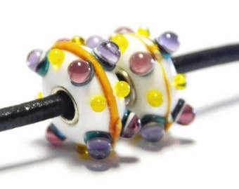 White with 3D Orange Stripe, 3D Pink,  Purple and Yellow Dots Bead for European Style  Bracelet  - .925 Silver Core