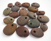 Top Drilled Beach Pebble Beads- Dark Muted Earth Tones- Set of 19 Beads