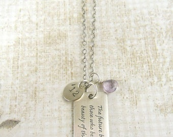 """SALE Graduation Gift, Sterling, Inspirational, Dream, Necklace, 2017,  Eleanor Roosevelt, Famous Quote """"The Future Belongs to those..."""""""