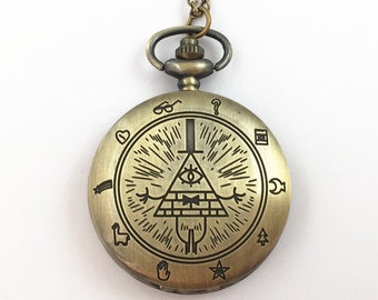 Gravity Fall inspired pocket watch necklace Bill Cipher