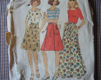 vintage 1970s simplicity sewing pattern 7395 misses back wrap skirt in two lengths and top size 16