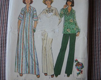 vintage 1970s simplicity sewing pattern 7466 misses caftan or top and pants UNCUT size 18 & 20