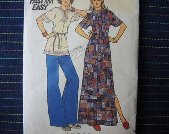 vintage 1970s Butterick sewing pattern 3590 misses caftan or top size 10