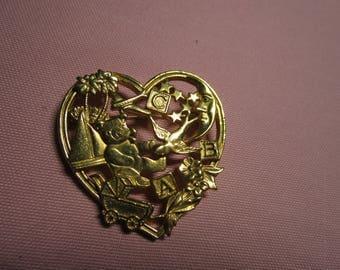 Vintage Goldtone heart ABC pin brooch, vintage pin brooch, estate jewelry brooch