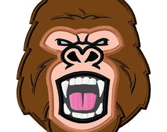 Gorilla Monkey Head APPLIQUE Embroidery Designs 4 sizes included INSTANT DOWNLOAD