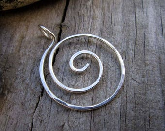XL Sterling Whirlpool Charm Holder - Heavy Gauge Charm Holder - Ring Holder Pendant - Free Form Sterling Wire Work