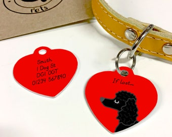 Poodle Personalised Heart Dog Name Tag