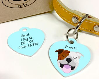 Dog Tag Staffordshire Bull Terrier Personalised HEART