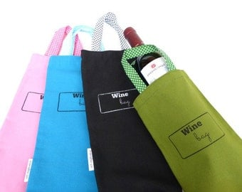 Cotton strong wine bag with handle many colors