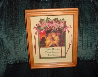 Framed Shadow Box CHERISH Yesterday DREAM Tomorrow LIVE Today Angels Flowers Bows ~ Pretty!