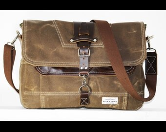 Waxed Canvas Messenger bag - handmade - FIELD TAN + leather accents + Brown shoulder strap 010026