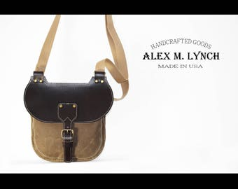 waxed canvas and leather saddlebag inspired bag 010058