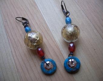 Turquoise earrings, Dangle earrings, Bohemian earrings, Middle Eastern style earrings, Foil bead earrings, free shipping