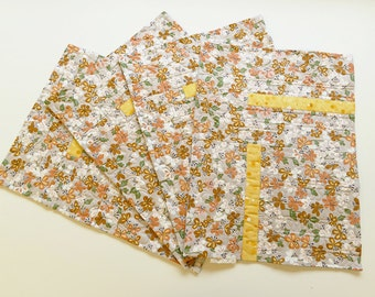 Butterfly print fabric placemats, A set of four placemats, quilted palcemats, Mid grey placemats
