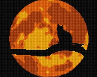 Needlepoint Kit or Canvas: Cat In Moonlight