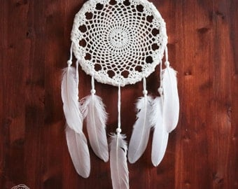 Dream Catcher - Wondering Sunflower - Unique Dream Catcher with White Handmade Crochet Web and White Feathers - Home Decoration
