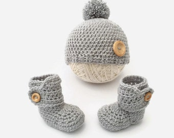 crochet hat booties set | grey baby boots hat set | baby outfit set | baby hat and bootees | newborn gift | baby shower gift