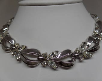 TRIFARI Signed Vintage Marquise Crystal Necklace