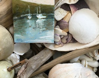 Safe Harbor Miniature oil painting,  stretched canvas miniature Maine  artist Adrienne Kernan LaVallee art and collectibles ACEO