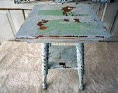 Antique spindle accent table painted distressed blue green shabby cottage chic side end table or plant stand home decor anita spero design