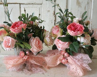 Pink floral arrangement shabby cottage chic silk pink roses and peonies /w olive branch fake bouquet set home decor anita spero design