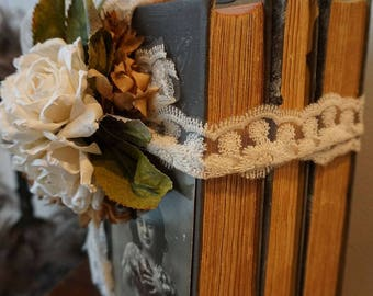 Distressed book stack farmhouse taupe gray book bundle French postcard antique lace embellishments decor Anita Spero Design