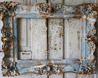 Shabby picture frame wall hanging French blue w/ gold ornate wood gesso antique farmhouse detailed large home decor anita spero design