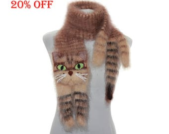 SALE 20 % OFF / Knitted Scarf  / animal scarf /  tabby cat / Fuzzy  Brown beige  Soft Scarf / Pet portrait / cat scarf /  animal scarf