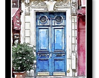 Watercolor Print, Europe Door Watercolor Prints, Blue Door Prints, Watercolor Door Art, Prints of Pictures of Doors, Watercolor Size 8x10