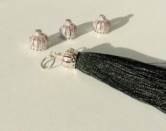 Zirconia Micro Pave Cap Silk Tassel, Black Tassel Pendants, Jewelry Making Tassels,  Handmade Tassels