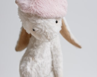 Made To Order Stuffed Bunny Mohair Rabbit Handmade Teddy Soft Toy Plush Bunny Stuffed Animal 7 Inches For Her FREE Shipping