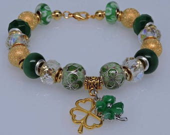 IRISH GREEN and GOLD European Style Bracelet with Dangling Shamrock Charms