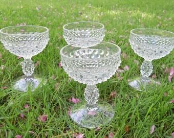 Vintage Hobnail  Dessert  Bowls ,Clear Glass Hobnail Cups,Set of 4 Hobnail Desert cups