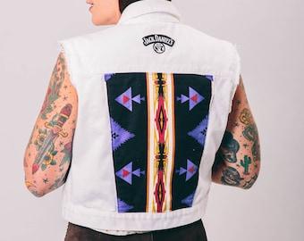 vintage white denim patched vest | medium | the Jack vest