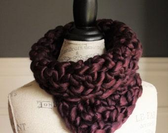 CROCHETED COWL with chunky yarn // The Kathryn // PLUM Burgundy // purple scarf