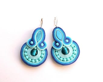 Earrings-Soutache Jewelry-Hand Embroidered Cold