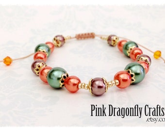 Orange Green and Brown Glass Pearl and Seed Bead Adjustable Bracelet - BR4