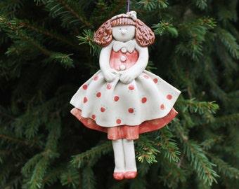 Ceramic doll Vintage handmade Christmas tree ornament Ceramic girl Ceramic girl figurine Vintage tree decoration Ceramic ornament