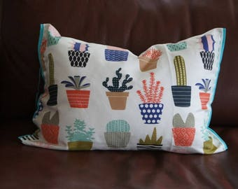 Organic Lumbar Pillow in cacti || Felt detailing hand stitched || canvas fabric || down alternative
