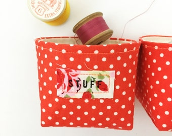 Red mini fabric box - box with hand stamped label - vintage style fabric - neon orange detailing - polka dot basket - gift for mum