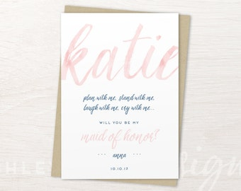 Maid of Honor Gift, Maid of Honor Proposal, Maid of Honor Card, Will You Be My Maid of Honor, Maid of Honour, Watercolor, Pink, Blush, Gold