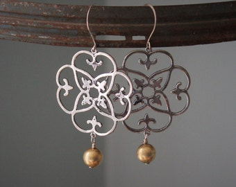 Silver filigree medallion earrings with gold ball drops