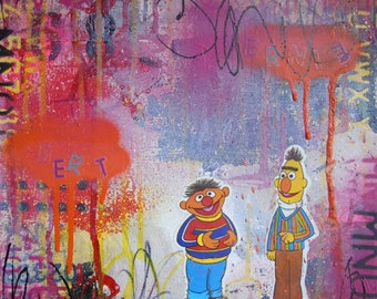 Bert and Ernie- square foot collage painting abstract mixed media Sesame Street