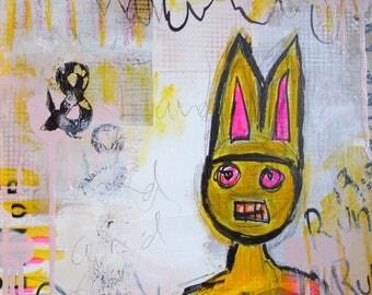 Run Rabbit Run- original art square foot painting canvas collage mixed media street art urban art