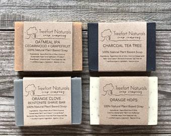 Soap Set for Men - All Natural soap, Shave soap, Detox Charcoal soap, Oatmeal IPA Beer Soap, Orange Hops, Groomsmen gift, Holiday gift