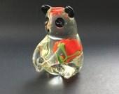 Items similar to art glass panda bear figurine with flower mid century vintage italian italy - Safari murano jewelry ...
