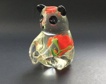 Art Glass Panda Bear Figurine with Flower Mid Century Vintage Italian Italy Murano Style Collectible Paper Weight Desk Office Safari