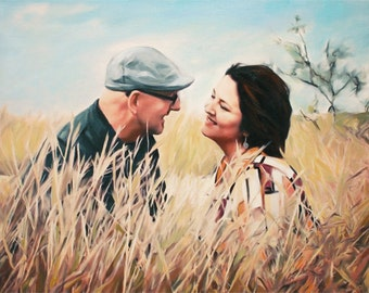 50th Anniversary Gift - Custom Hand Painted Portrait on Canvas from Photo